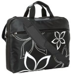 17 inch Black Contour Flowers Floral Print Laptop Computer Briefcase Messenger Shoulder Bag Carrying Case