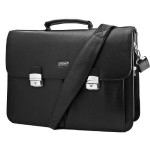 Black Leather Mans Business Laptop Briefcase Messenger Bag Style 3