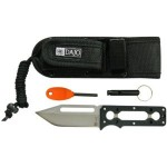 DAJO Adventure Gear Outdoor Survivor Knife with 3 75 Inch Stainless Steel Blade Swedish FireSteel Mini Fire Starter Whistle and Sheath