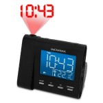 Magnasonic MAG MM176K AM FM Projection Clock Radio with Dual Alarm Auto Time Set Restore Temperature Display and Battery Backup