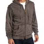 True Grit Mens Slub Cashmere Terry Zip Hood Jacket