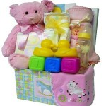 Sweet Baby Care Package Gift Box with Teddy Bear Blue Boys or Pink Girls