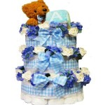 Sweet Baby Diaper Cake Gift Tower with Teddy Bear Boy Blue or Pink Girl