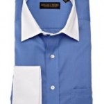 Trump Mens Spread Collar Twill Solid Woven Shirt