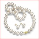 14k Yellow Gold White Cultured Freshwater Pearl Necklace 18inch Length and Stud Earring Jewelry Set
