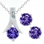 2.25 Ct Round Purple Amethyst .925 Silver Pendant and Earrings Set 18inch Chain