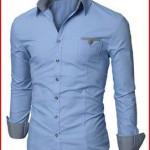 Doublju Mens Dress Shirt with Contrast Neck Band