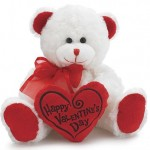 Happy Valentine's Day Bear 8 inch Animal Plush- White with Red Message Pillow