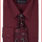 Milano Moda Men's Long Sleeve Dress Shirt With Matching Tie And