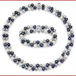 S.Silver 6.5-7mm 2 Row Multi Dark Cultured Freshwater High Luster Pearl Necklace 17inch, Bracelet 7.25inch