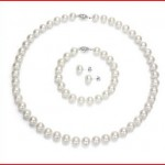 Sterling Silver 9-10mm White Cultured Freshwater Pearl Necklace 18inch , 7inch Bracelet and Stud Earring
