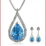 Sterling Silver Swiss Blue Topaz and Diamond one forth cttw, I-J Color, I2-I3 Clarity Drop Earrings and Pendant Necklace Jewelry Set