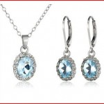 Sterling Silver and Gemstone Pendant Necklace and Earrings Jewelry Set