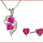 XPY Sterling Silver and 14k Yellow Gold Created Ruby Heart with Diamond-Accent Pendant Necklace and Earrings Set, 18inch
