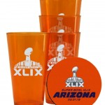 uper Bowl XLIX 49 NFL Football Logo Set of 4 Plastic Pint Glasses and Coasters