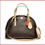 Coach 26184 Peyton Signature Domed Cora Satchel - Brown and Tan