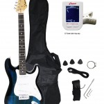 Crescent EG39-TB 39 Inch Electric Guitar Starter Kit, Transparent Blue Color (Includes CrescentTM Digital E-Tuner)