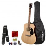 Fender Squier Acoustic Guitar Bundle with Strings, Strap, Tuner, ChromaCast Guitar bag Pitch Pipe, Lesson & Picks Sampler