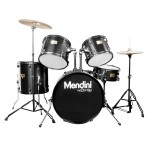 Mendini MDS80-BK Complete Full Size Senior 5-Piece 6-Ply Birch Wood Black Drum Set with Cymbals, Drumsticks and Throne