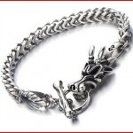 Mens Biker Stainless Steel Dragon Curb Chain Bracelet Toggle Clasp Gothic Style 8.9 Inches