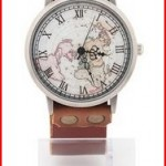 Men's  Women's World Map Watch Unisex Fashion Classic Brown Leather Strap