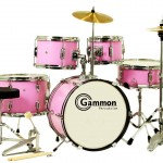 Pink Junior 5-Piece Drum Set with Cymbals Stands Sticks Hardware Complete