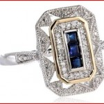S&G Sterling Silver and 14k Yellow Gold, Blue Sapphire, and Diamond-Accent Art Deco-Style Ring (0.12 cttw, I-J Color, I3 Clarity)
