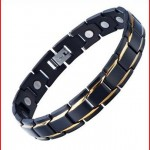 Unique Stainless Steel Mens Gold Black Power Element Bracelet with 3000g Magnets
