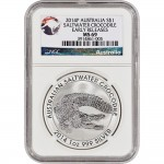 2014 P Australia Silver Saltwater Crocodile (1 oz) $1 MS69 -Early Releases NGC