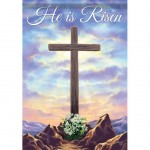 Cross on the Hill He is Risen Easter Lily 13 X 18 Double Sided Decorative Garden Flag