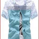 2015 New Men Fashion Slim Fit Tee Shirts Casual Dress Shirts Blouse Short Sleeve
