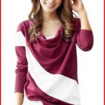 AM CLOTHES Womens Sexy Casual Heaps Collar Two-Tone T Shirt