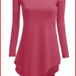 Doublju Womens Knit Tunics with Unbalanced Hem Line