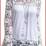 OURS Women's White Lace Sleeve Chiffon Patchwork Shirt Fashion Blouse