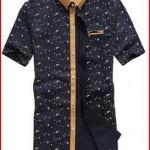 SSLR Men's Printing Pattern Casual Short Sleeve Shirt