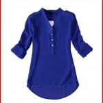 Women Spring Summer V-Neck Chiffon Long Sleeve Casual Shirt Blouse