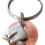 Cap and Diploma Charm Layered Over 2015 Penny Keychain - Good Luck to the New Graduate Hand Made; Graduation Gift