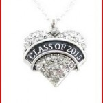 Class of 2015 Graduation Crystal Heart Silver Chain Necklace Jewelry Senior Gift