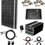 Complete 200 Watt Solar Panel Kit with 1500W VertaMax Power Inverter for RV, Boat, Off-Grid 12 Volt Battery Systems