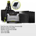 Goal Zero Yeti 1250 Solar Generator Kit with cart,  Boulder 30 solar panels,  panel carrying cases,  Solar Tripod