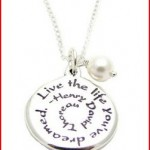Sterling Silver Quote Live The Life You've Dreamed Charm Necklace 18, Inspirational Graduation Jewelry Gift