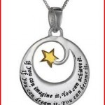 Two-Tone Sterling Silver and Yellow Gold Inspirational Pendant Necklace, 18