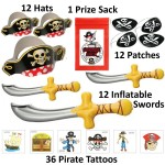 72 Pc Deluxe Pirate Dress up Party Favor Pack