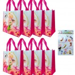8-pack Tinkerbell Tote Bags  Assorted Licensed Stickers Sheet Tinkerbell Disney Fairies Party Supplies and Favors for Girls and Kids