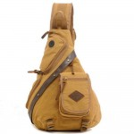 Bonamana Men Canvas Leather Shoulder Military Messenger Haversack Sport Gym Hiking Bag