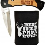 Father's Day Gift for Dad Knife Gift for Grandpa Gift for Papa Best Ever Best Buckin' Laser Engraved Folding Pocket Knife with Funny Beer Coolie Gift Set