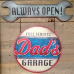 LARGE Vintage Style Dad's Full Service Garage Always Open Metal Tin
