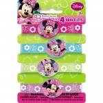 Minnie Mouse Rubber Bracelets, 4ct