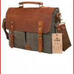 S-ZONE Fashion Canvas Genuine Leather Trim Travel Briefcase Backpack Laptop Bag