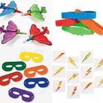SUPERHERO Party Favors Bundle Kit Enough for 12 Boy's Kid's Planes Bracelets Mask Tattoo